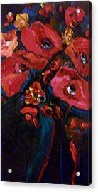 Acrylic Print featuring the painting Red And Blue by Ray Khalife