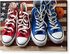 Red And Blue Tennis Shoes Acrylic Print by Garry Gay
