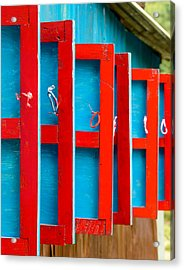 Red And Blue Wooden Shutters Acrylic Print