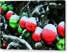 Red And Green Christmas Ornaments Acrylic Print