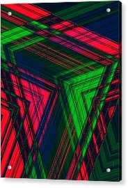 Red And Green In Geometric Design Acrylic Print by Mario Perez