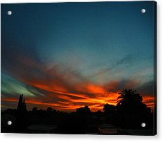 Red And Green Sunset Acrylic Print