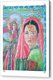 Acrylic Print featuring the painting Red And Green by Suzanne Silvir