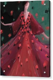 Red And Orange Petal Dress Fashion Art Acrylic Print by Beverly Brown