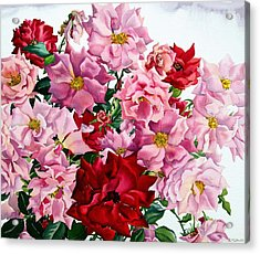 Red And Pink Roses Acrylic Print
