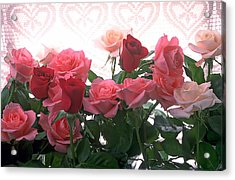 Red And Pink Roses In Window Acrylic Print by Garry Gay