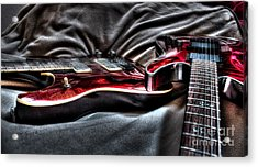 Red And Ready Digital Guitar Art By Steven Langston Acrylic Print by Steven Lebron Langston