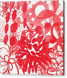 Red And White Bouquet- Abstract Floral Painting Acrylic Print by Linda Woods