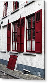 Red And White In Bruges Acrylic Print by John Rizzuto