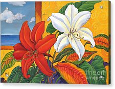 Red And White Lillies Acrylic Print by Paul Brent