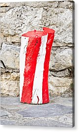 Red And White Log Acrylic Print by Tom Gowanlock