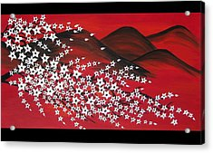 Red And White Sakura Acrylic Print by Cathy Jacobs