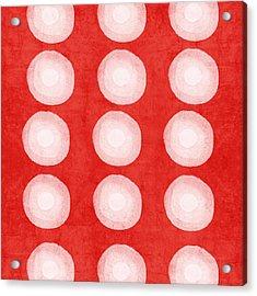Red And White Shibori Circles Acrylic Print