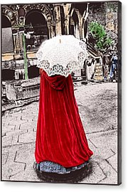 Red And White Walking Acrylic Print by Kae Cheatham