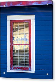 Red And White Window In Blue Wall Acrylic Print