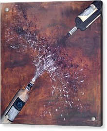 Red And White Wine Explosion Acrylic Print by Michelle Iglesias