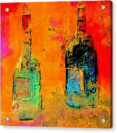 Acrylic Print featuring the painting Red And White Wine by Lisa Kaiser