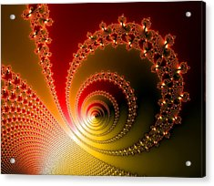 Red And Yellow Abstract Fractal Acrylic Print by Matthias Hauser