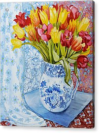 Red And Yellow Tulips In A Copeland Jug Acrylic Print by Joan Thewsey