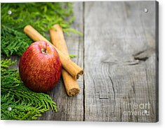Red Apple With Cinnamon Sticks Acrylic Print by Aged Pixel