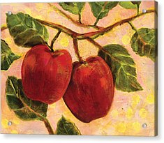 Red Apples On A Branch Acrylic Print by Jen Norton