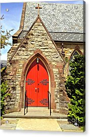 Acrylic Print featuring the photograph Red Arch Church Door 1 by Becky Lupe