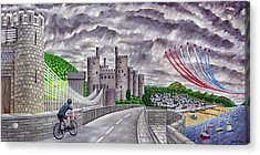 Red Arrows At 1000 Feet Over Conway Castle Acrylic Print by Ronald Haber