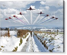 Red Arrows Over Epen Acrylic Print by Nop Briex