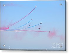 Red Arrows Over The Sea Acrylic Print by Paul Cowan