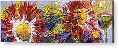 Red Asters Modern Impressionist Flower Painting Acrylic Print by Ginette Callaway