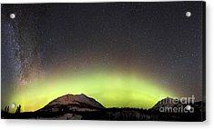 Red Aurora Borealis And Milky Way Acrylic Print by Joseph Bradley