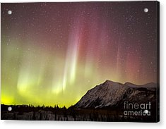 Red Aurora Borealis Over Carcross Acrylic Print by Joseph Bradley