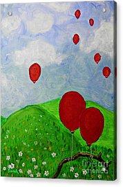 Red Balloons Acrylic Print by Sarah Loft