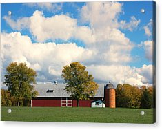 Red Barn And Clouds Acrylic Print