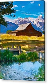 Red Barn And Mountains  Acrylic Print