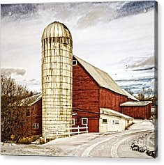 Red Barn And Silo Vermont Acrylic Print by Edward Fielding