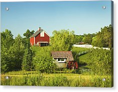 Red Barn And Water Mill On Farm In Maine Acrylic Print by Keith Webber Jr