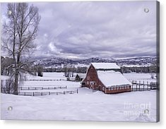 Acrylic Print featuring the photograph Red Barn At Lamb Ranch by Kristal Kraft