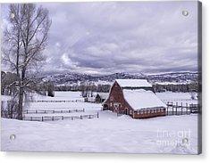 Red Barn At Lamb Ranch Acrylic Print