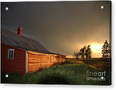 Red Barn At Sundown Acrylic Print by Jerry McElroy