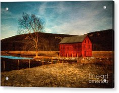 Red Barn At Twilight Acrylic Print by Lois Bryan