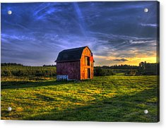 Red Barn Autumn Sunset Acrylic Print by Joann Vitali