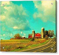 Red Barn Blue Sky Acrylic Print by Brooke T Ryan