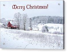 Red Barn Christmas Card Acrylic Print
