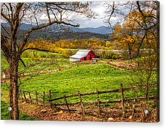 Red Barn Acrylic Print by Debra and Dave Vanderlaan