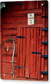 Red Barn Door 003 Acrylic Print by George Bostian