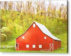Red Barn Green Hillside Acrylic Print by Carol Leigh