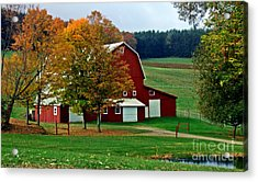 Red Barn In Autumn Acrylic Print by Christian Mattison