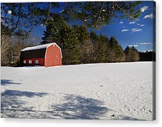 Red Barn In Hollis Acrylic Print by Lee Fortier