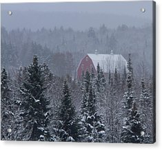 Red Barn In Maine Acrylic Print by Jack Zievis